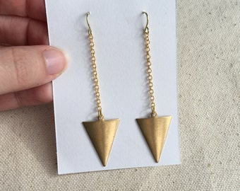 Brass triangle geometric earrings | FREE gift wrapping