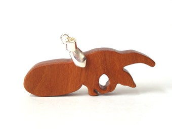 Anteater Necklace Wood Animal Pendant Anteater Jewelry Hand Cut Wooden Jewelry Cherry