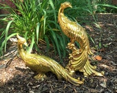Syroco Peacock Pair Gold Vintage Hollywood Regency
