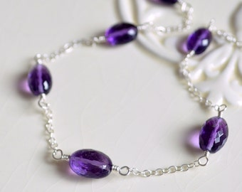Real Amethyst Necklace, Sterling Silver, February Birthstone Jewelry for Girls, Genuine Purple Gemstone