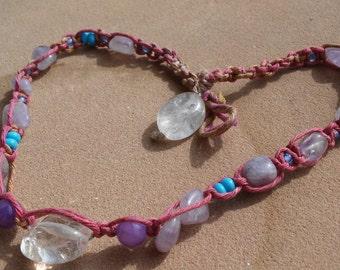 Hemp choker/beaded necklace