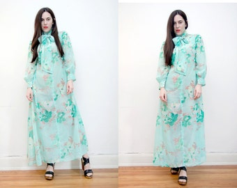 Vintage Floral Sheer Balloon Sleeve Poet Sleeve Pussy Bow Neck  Boho Hippie Maxi Dress 70's