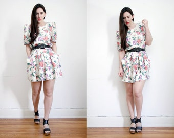 Vintage Floral Cream Garden Tea Dress Grunge Revival Mini dress