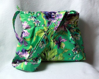 Pleated Tote Bag with Adjustable Strap in Bliss Bouquet Purple