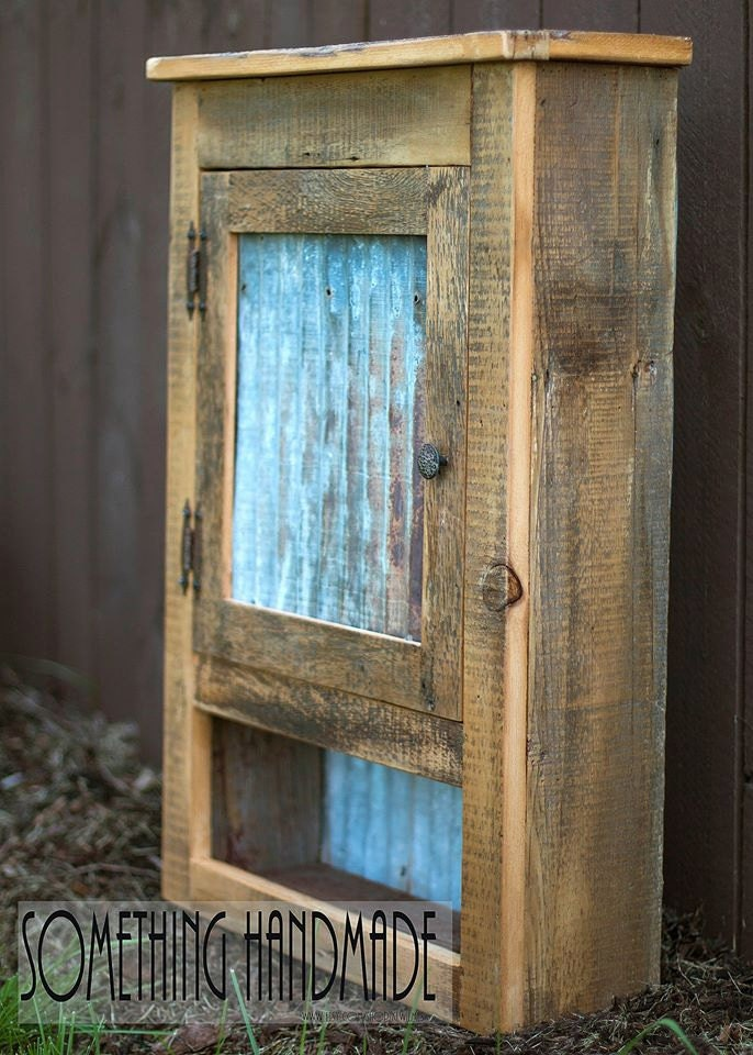 Barn Wood Cabinet With Corrugated Steel Made From 1800s Barn