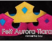 Aurora Felt Crown - Pre-made Tirara Childs princess stocking stuffer frozen queen royal dress up costume party favors activity play