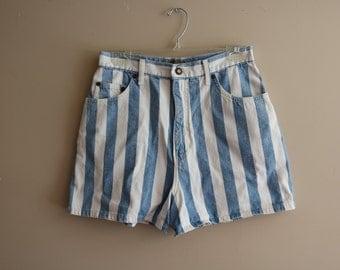 90's Vintage Express Striped Denim Shorts - Size 11/12 - Grunge