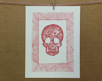 Watercolor/Ink-Anatomy-Laced Skull (Red)