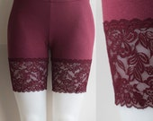 Now in Plus Sizes:  Lace Bike Shorts Burgundy Bamboo