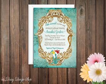 Baby Shower Invitation - Princess Ariel - Little Mermaid Damask and Frame