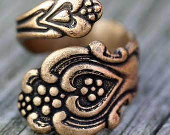 Steampunk Spoon   Ring Adjustable Brass Antique Filigree Ring Silver  Gift Antique Wedding