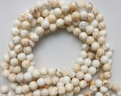 8mm White Turquoise round beads, full strand (15.5 inches, 49 beads)