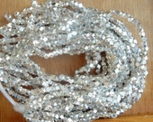 8 inches  2.5mm Silver plated brass faceted nugget beads, silver plated brass nugget beads, brass spacer