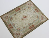 Miniature  Large Size French Aubusson Rug in Shades of Green With Coral