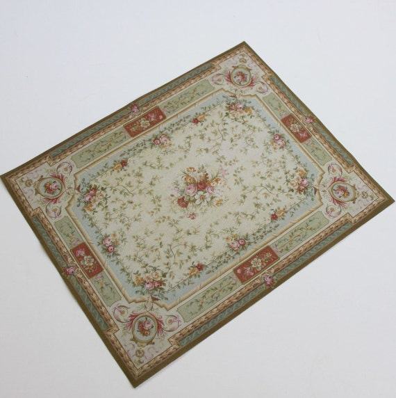 Large Aubusson Rug: Miniature Large Size French Aubusson Rug In Shades Of Green