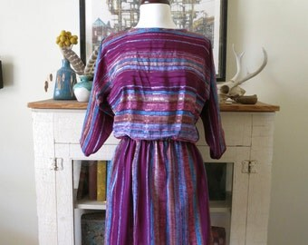 70s batwing dress, purple rainbow stripes, with back buttons, XS, S, M