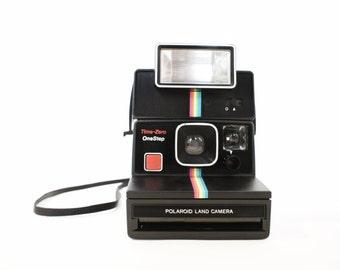 Polaroid Camera SX-70 Black Rainbow OneStep Time-Zero and Q-light - Film Tested Working