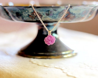 Simple fuchsia pink rose necklace, small rose, floral jewelry, Bloom Where You're Planted