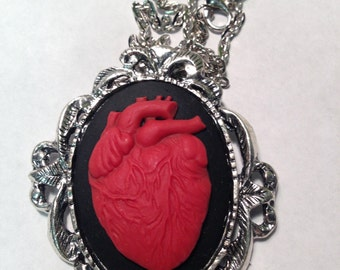 Large Anatomical heart cameo necklace