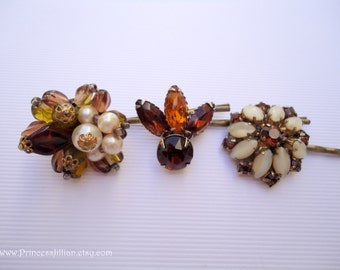 Vintage earring hair pins - Topaz amber moss green leaves white pearl beaded cluster beige satin moonstone gem boho jeweled hair accessories
