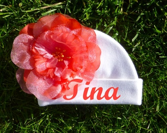 Personalized Newborn Hat with flower, Baby Shower gift, Gift For New Born. Made to order.