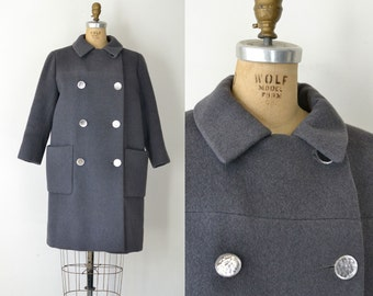 1960s Norman Norell Coat / 60s Gray Wool Military Style Coat