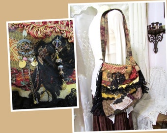 Bohemian Purse, handmade gypsy bag with black lace satin ribbons, upholstery fabric bag, thick shoulder bag, earth tones, inside pockets