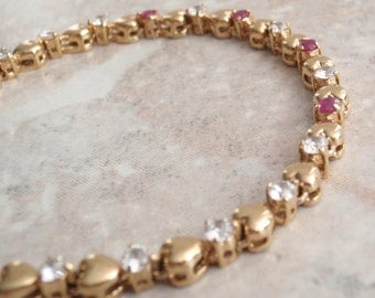 Ruby Tennis Bracelet Gold Plated Hearts CZs 7.5 Inches Vintage V0795