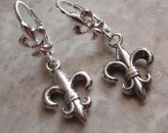 Fleur De Lis Earrings Sterling Silver Lever Back Ear Wires