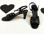 70's black strappy leather high heels 1970's t-strap ankle strap open toe disco shoes / made in Italy / sandals / cha cha dancing / size 7