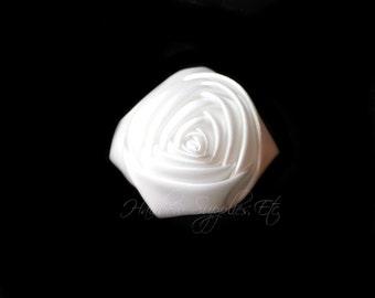 White Folded Satin Rolled Flowers Rosettes 2 inch - White Satin Flowers, Hair Flowers, White Flowers For Headbands, Satin Flowers, Rosette