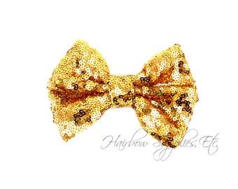 Gold Large Sequin Bows 4 inch Bows - Bow Applique, Sequin Bow, Large Bows, Big Bows, Wholesale Bows, Sequin Bow Tie, Sequin Bow Headband