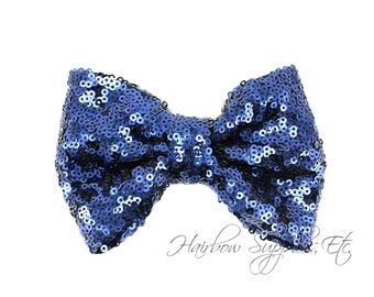 Navy Large Sequin Bows 4 inch Bows - Bow Applique, Sequin Bow, Large Bows, Big Bows, Wholesale Bows, Sequin Bow Tie, Sequin Bow Headband