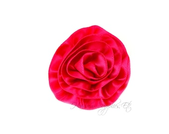 Fuchsia Rose Ruffle Silk Flowers 2 inch - Fuchsia Flowers, Fuchsia Hair Flowers, Fuchsia Silk Flower, Fuchsia Flowers For Hair