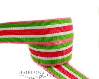 Bubble Gum Princess Stripe 7/8  inch Pink Green White Specialty Grosgrain Ribbon - Pink Striped Ribbon, Green Hair Bow Supplies, Stripes