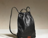 Drawstring Backpack - Black Leather