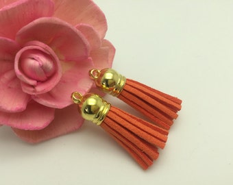 50 Pieces 39x10MM Dark Orange Color Faux Suede Leather Tassel With Plastic Gold Top Cap,Phone Accessories, Necklace Tassel Pendant