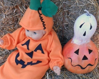 G002   Ready to Ship   Sweet Little Baby Jack 'O Lantern Pumpkin Halloween Costume Babies XSmall