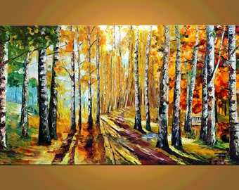 ORIGINAL impasto Oil Painting Palette Knife Colorful Landscape painting gift Park Trees Red Sunny Yellow Birches textured canvas Marchella