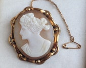 RESERVED for Meo Antique Victorian Pinchbeck Gold Cameo Brooch
