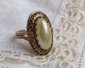 Vintage Damascene Faux Pearl Enamel Cocktail Ring