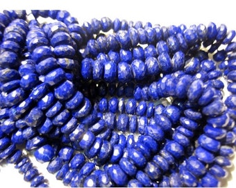 50% VALENTINE SALE AAA Lapis Lazuli - Rondelles Micro Faceted - 6mm Beads - 4.5 Inch Half Strand - 26pcs Approx