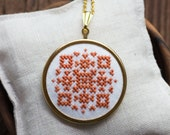 Statement cross stitch necklace with ethnic inspired embroidery in amber color n014