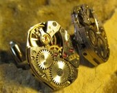 Beautiful Pair of 17 Jewels Steampunk Bulova Watch Movement Cuff links CL 38