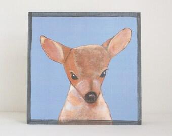 forest nursery decor,  woodland nursery, deer wall art- nursery art- rustic kids room decor- blue nursery- art block -redtilestudio
