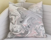 Marble (Grey and Blush Pink) Designer Pillow Cover - Square, Lumbar and Euro Sizes
