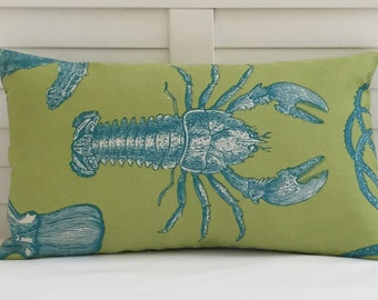 Thomas Paul for Duralee Adriatic in Lime and Blue  12x20 Lobster Indoor Outdoor Pillow Cover