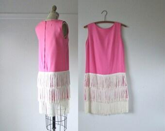 SALE 1960s Go-Go Dress / vintage fringe mini dress