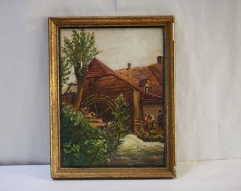 Vintage Oil Painting Stone Mill River Interior Scene Thatched Roof Lansdale PA