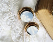 Partners in Elegance - Pair of Large Antique Victorian Onyx Cufflinks with Gold Filled Settings circa 1880